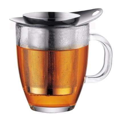 Bodum YO-YO Glass Mug with Loose Leaf Tea Strainer (0.35 L/12 oz) - Stainless Steel