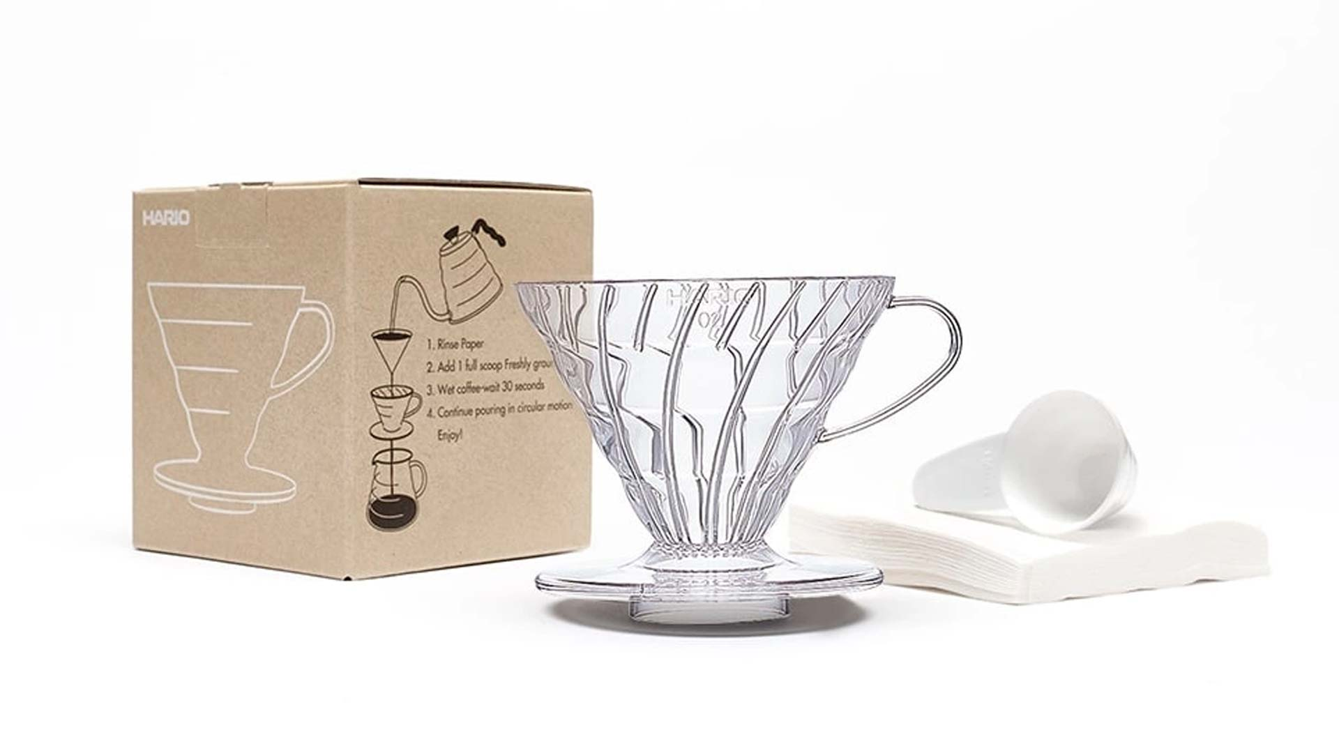 Hario V60 Coffee Dripper Set (Clear) - Includes 40 Filter Papers