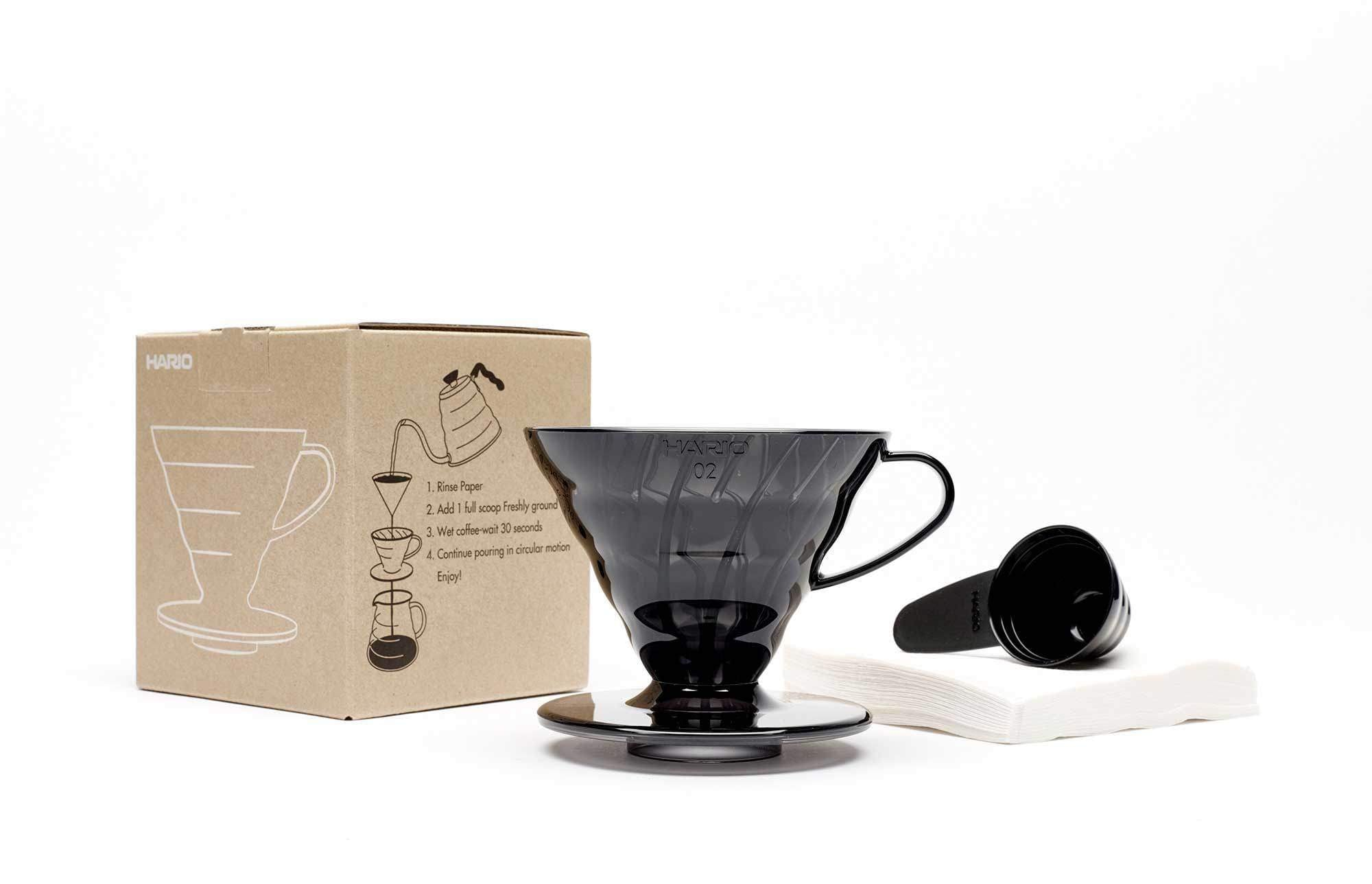 Hario V60 Coffee Dripper Set (Transparent Black) - Includes 40 Filter Papers