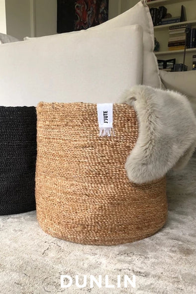 J'JUTE ROUND TALL JUTE BASKET NATURAL