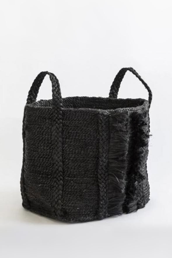 J'Jute Bazar Medium Wide Fringe Jute Basket- Desert Black