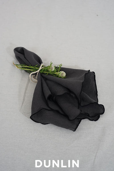 Dunlin French Linen Napkin in Charcoal