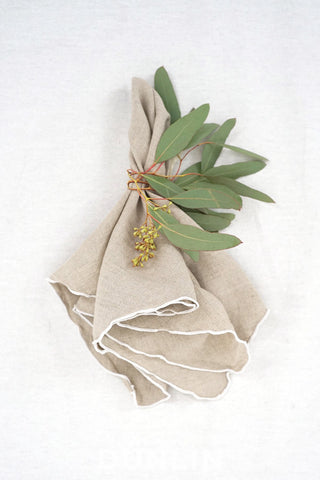 Dunlin French Linen Napkin in Flax