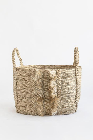 J'Jute Bazar Medium Fringe Jute Basket- Natural