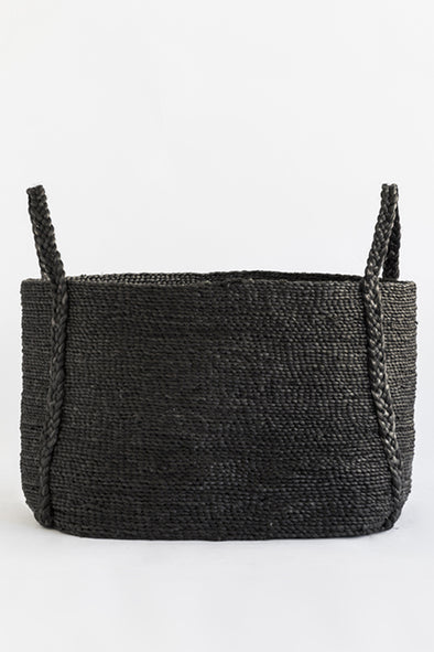 J'Jute Maya Large Wide Jute Basket in Onyx