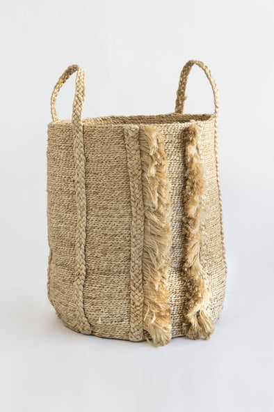 J'Jute Bazar Tall Jute Basket - Natural
