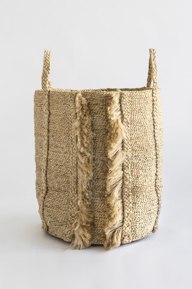J'Jute Bazar Tall Fringe Jute Basket in Natural
