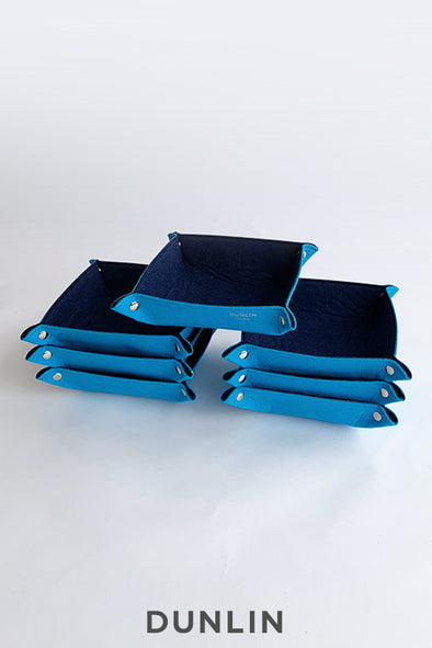 Dunlin Large Square Eco-Felt Travel change tray Valet in Blue