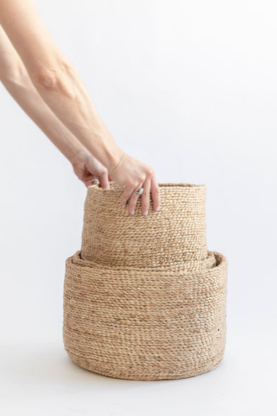 J'Jute Edition Round Jute Baskets - Natural