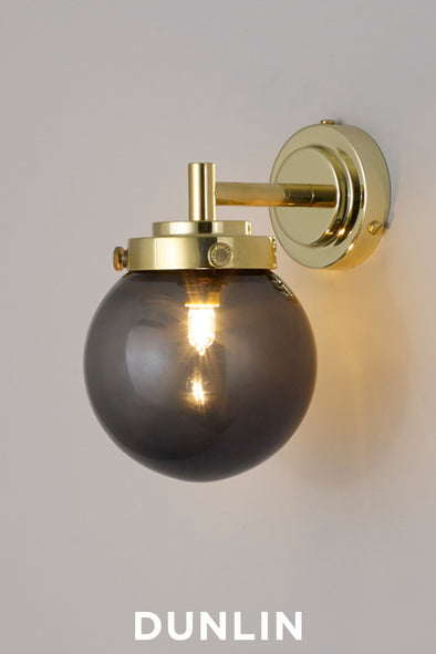 Mini Globe Wall Light, Opal with Brass