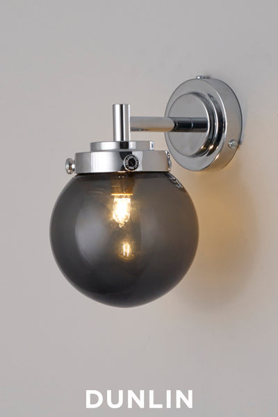 Mini Globe Wall Light, Anthracite with Chrome