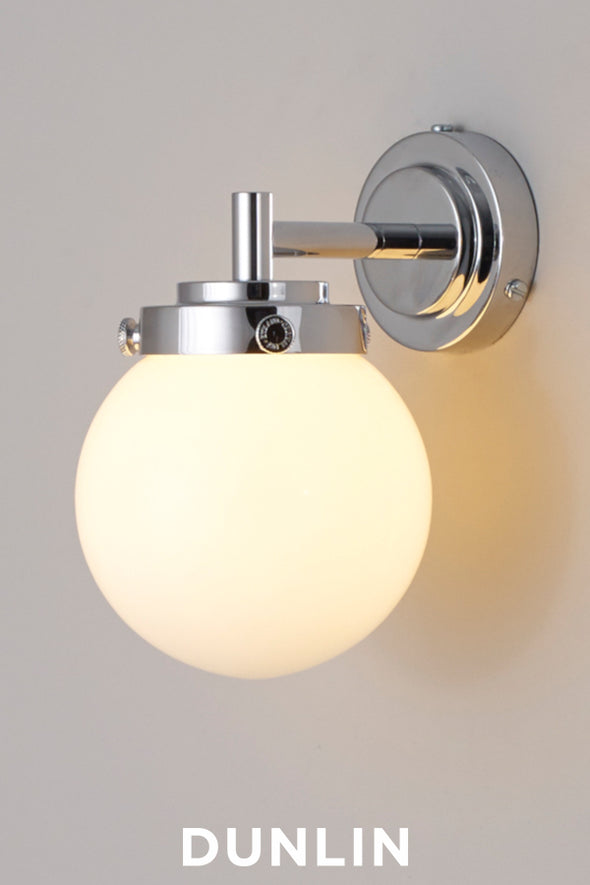 Mini Globe Wall Light, Opal with Chrome