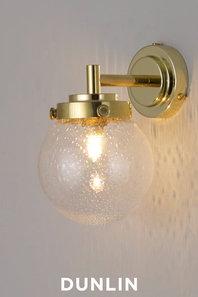 Mini Globe Wall Light, Seedy with Brass