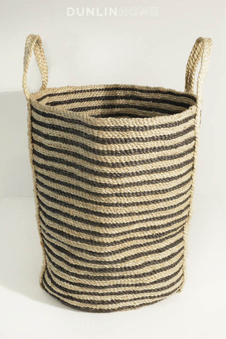 Jute Woven Basket Collection. Tall Basket. Charcoal Striped