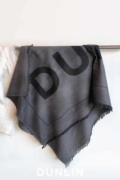 Dunlin Linen Beach Towel in Charcoal