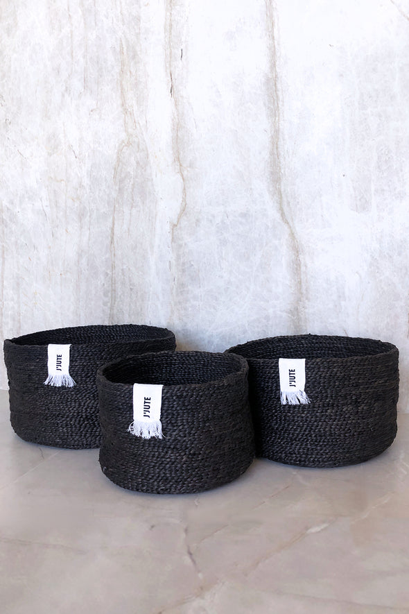 J'Jute Edition Round Set of 3 Jute Baskets Desert Black dunlin