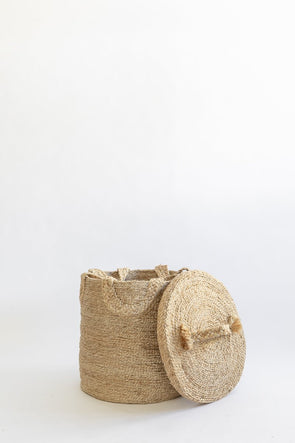 J'Jute Round Jute handled Basket Lid Top