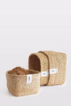 J'Jute Gateway Square Set of 3 Jute Baskets in Natural