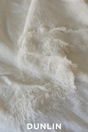 Dunlin Raw Edge Linen Throw in Ivory