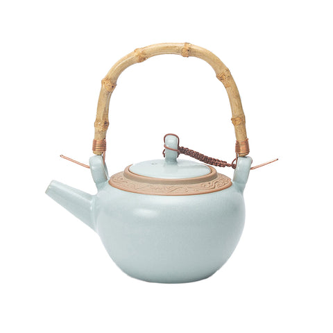 Oversized Lifting Handle Ceramic Tea Pot With Strainer