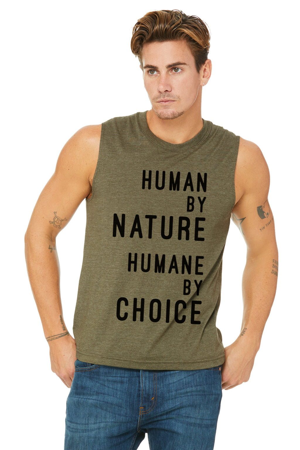 "Unisex ""Human by nature, Humane by choice""  Muscle Tank (text)"