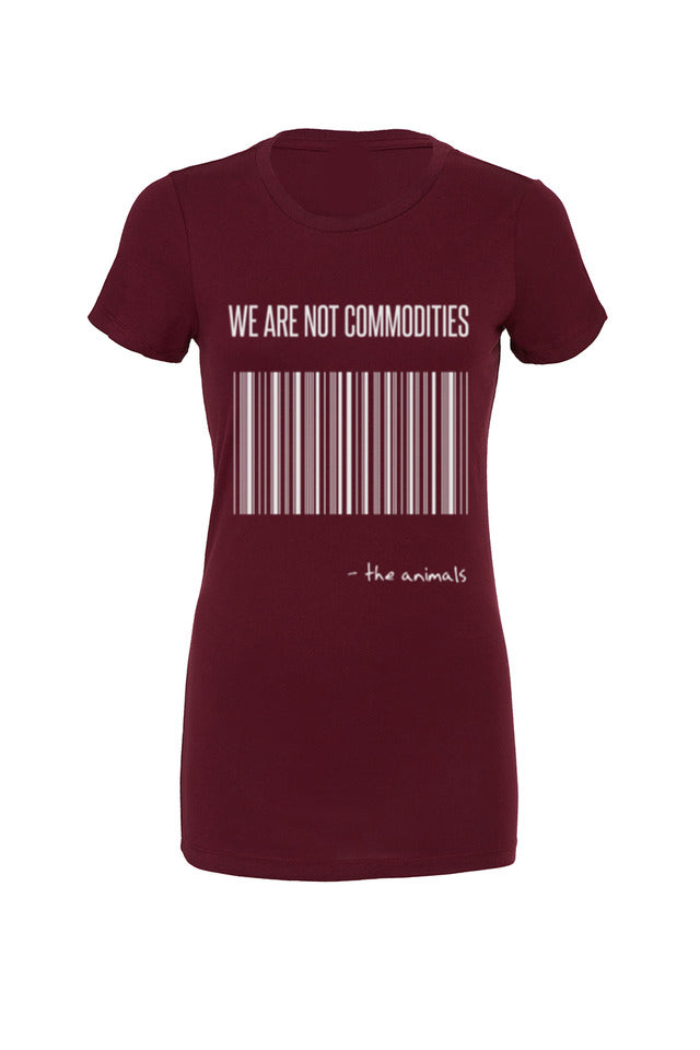 "Womens ""We are not Commodities"" Tee,Humane Apparel  - Humane Apparel"
