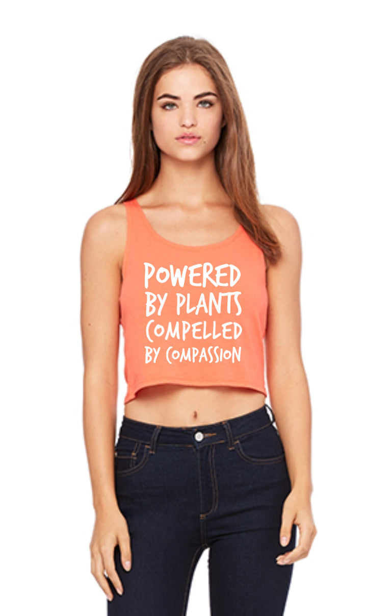 "Women's ""Powered by Plants, Compelled by Compassion""  Crop-Tank Top (soft),Humane Apparel  - Humane Apparel"