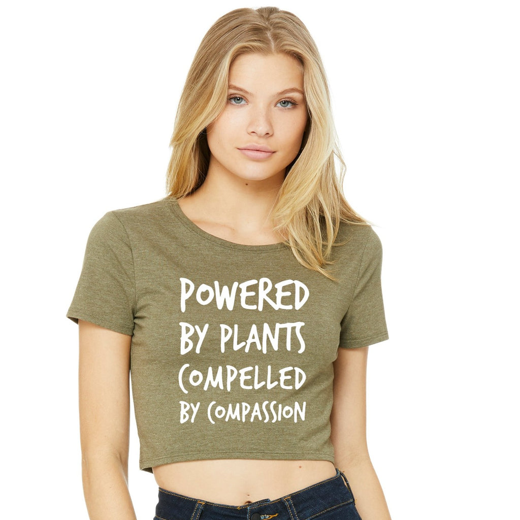 """Powered By Plants..."" Women's Cropped Tee (soft),Humane Apparel  - Humane Apparel"