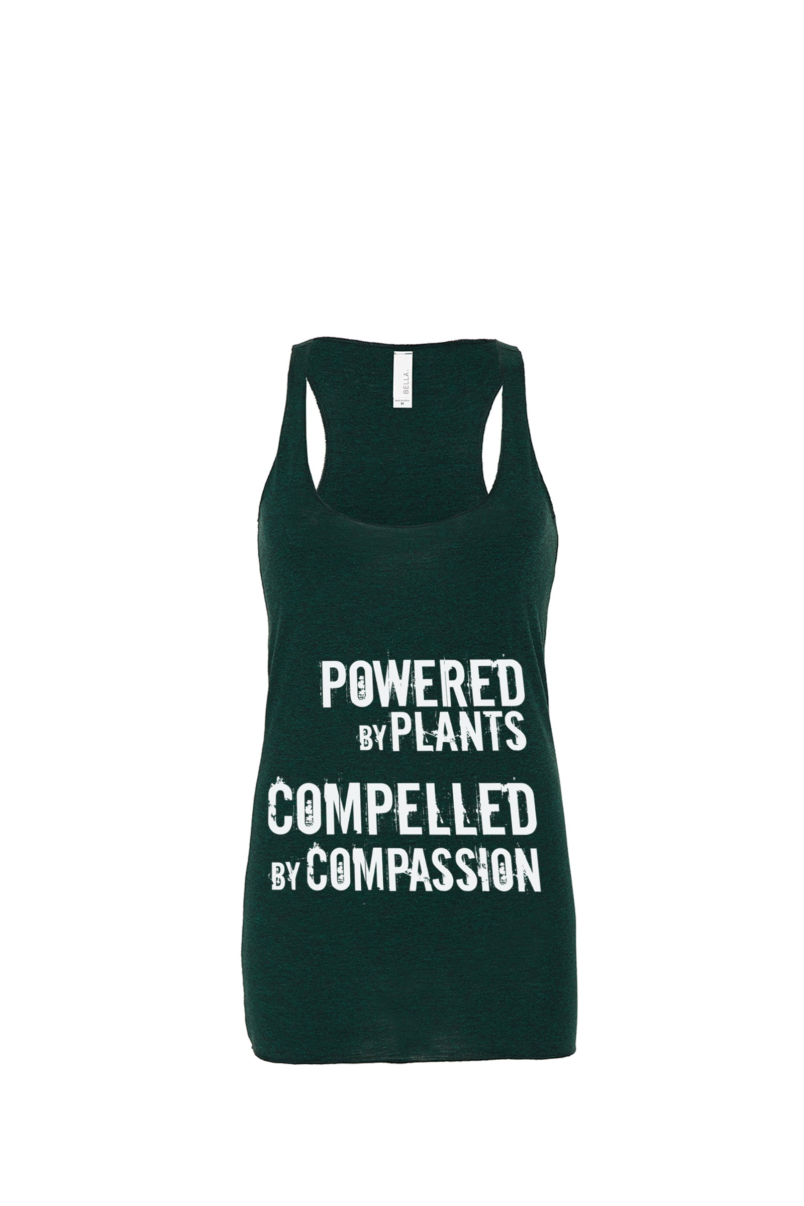 "Women's ""Powered by Plants, Compelled by Compassion"" Racerback (rough),Humane Apparel  - Humane Apparel"