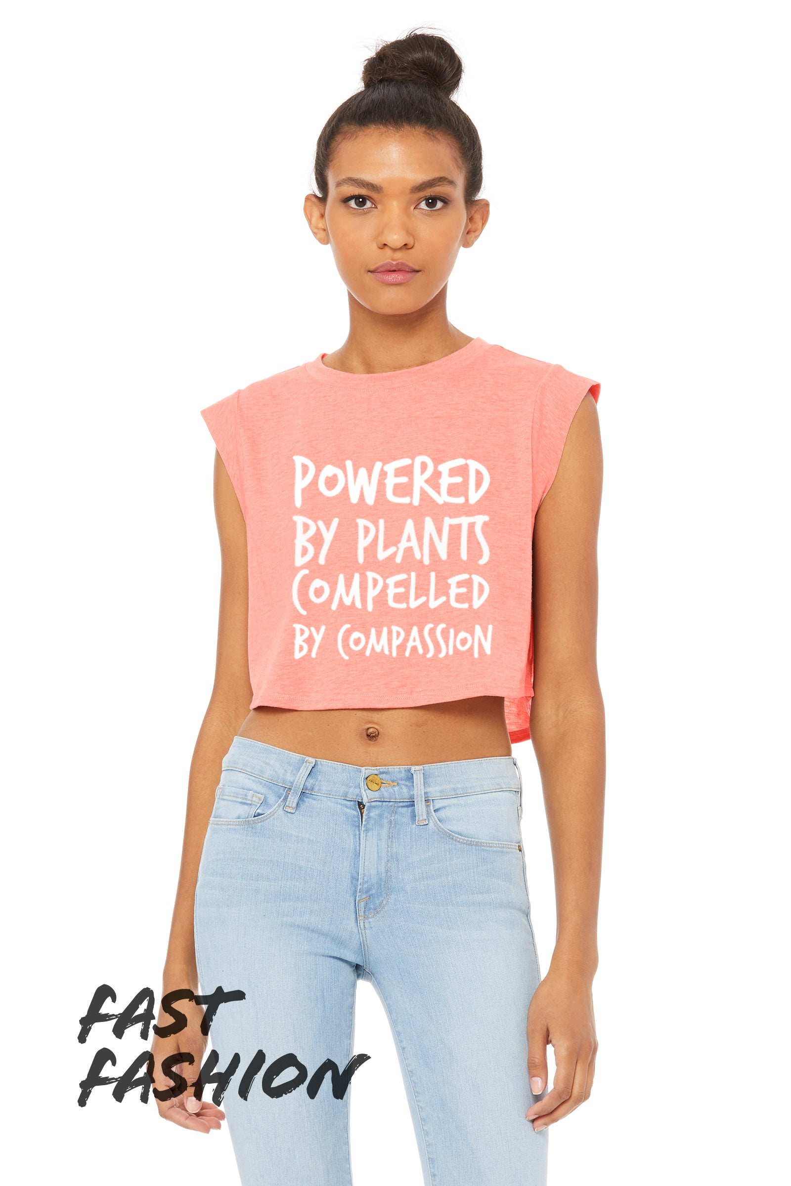 "Women's ""Powered by Plants, Compelled by Compassion"" Festival Crop (soft),Humane Apparel  - Humane Apparel"