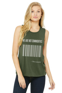 "Women's ""We are not Commodities"" Muscle Tank,Humane Apparel  - Humane Apparel"