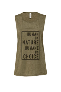 "Women's ""Human by nature, Humane by choice"" Muscle Tank (boxed text),Humane Apparel  - Humane Apparel"