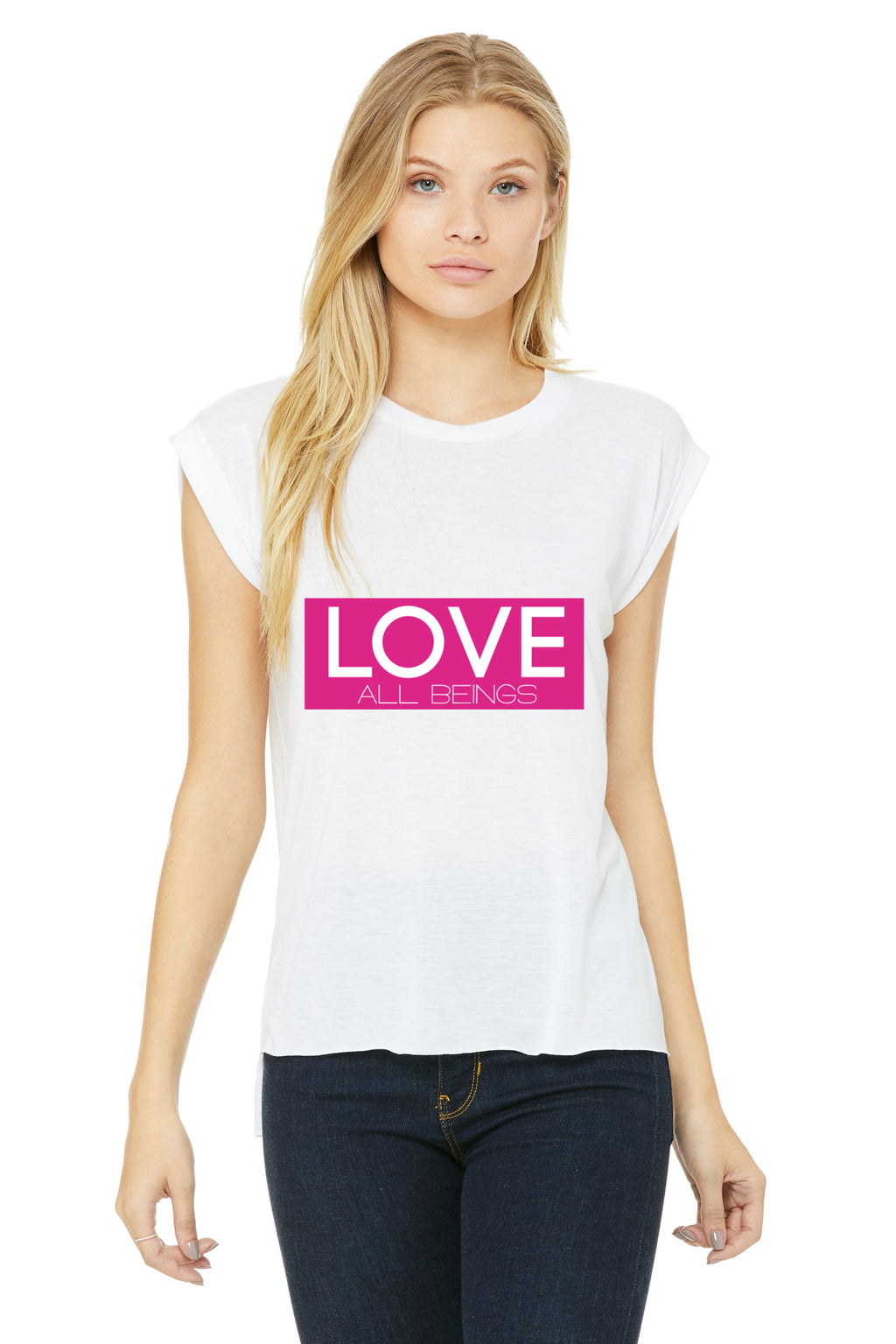 "Womens ""LOVE All Beings"" Rolled Cuff Muscle Tank,Humane Apparel  - Humane Apparel"