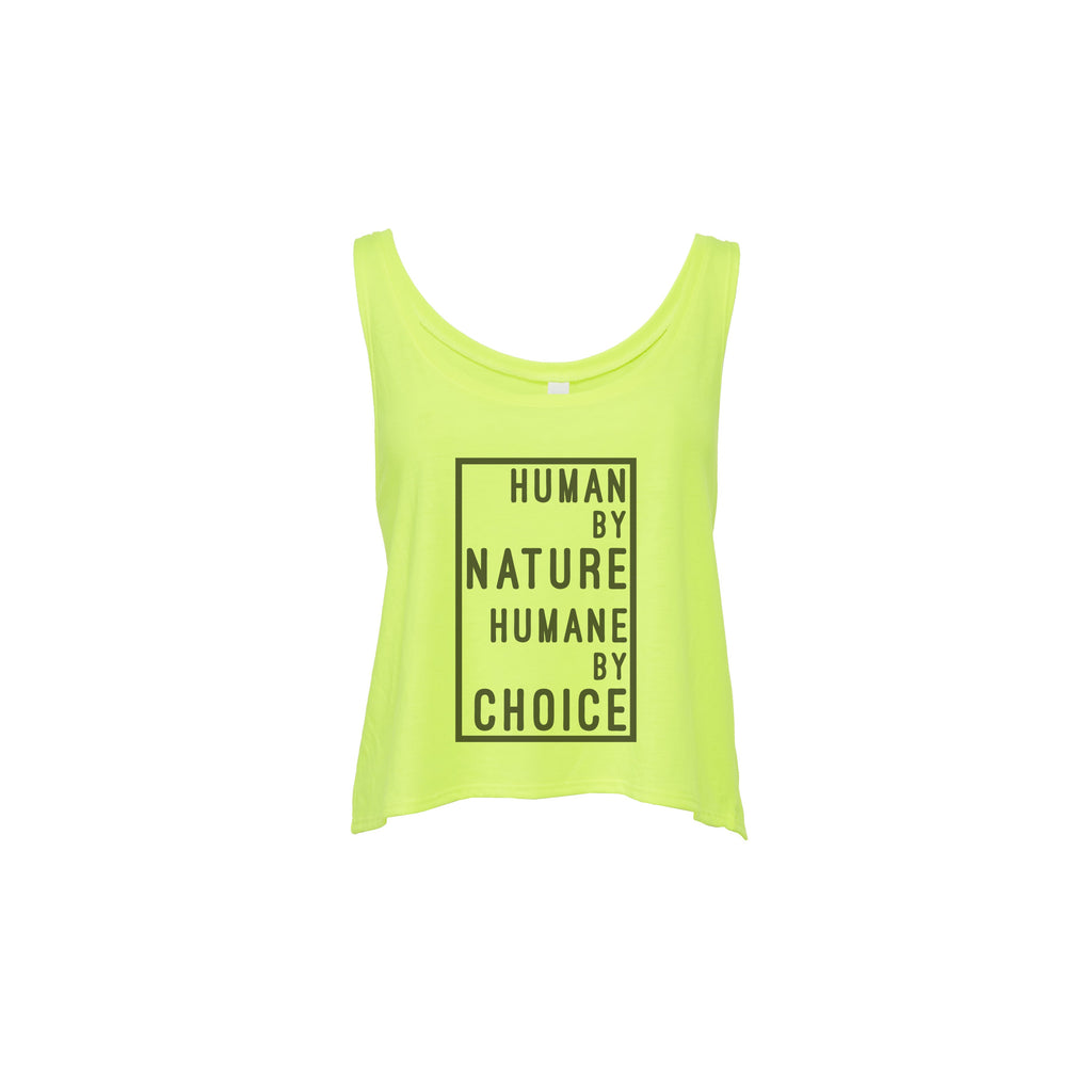 "Women's ""Human by nature, Humane by choice"" Flowy Crop Top,Humane Apparel  - Humane Apparel"