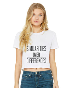"Women's ""Similarities Over Differences"" Flowy Cropped White Tee,Humane Apparel  - Humane Apparel"