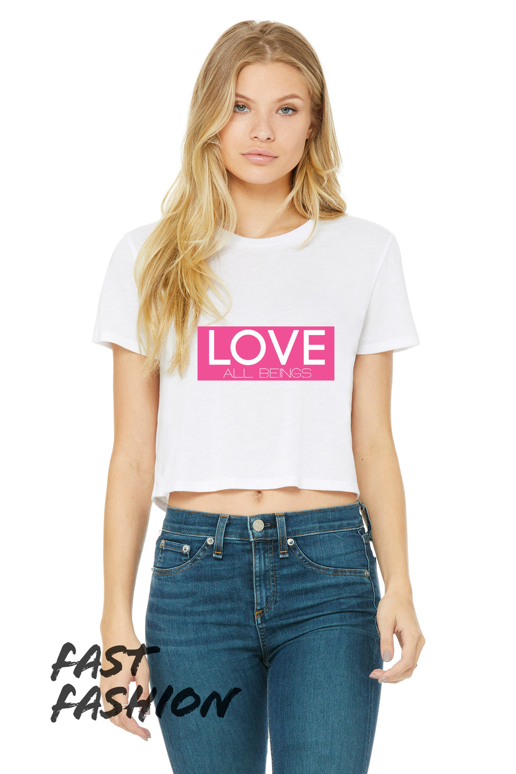 "Women's ""LOVE All Beings"" Flowy Cropped Tee,Humane Apparel  - Humane Apparel"