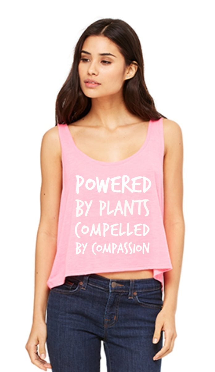 "Women's ""Powered by Plants, Compelled by Compassion"" Crop Top (soft),Humane Apparel  - Humane Apparel"
