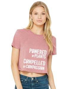 "Women's ""Powered by Plants, Compelled by Compassion"" Flowy Cropped Tee,Humane Apparel  - Humane Apparel"