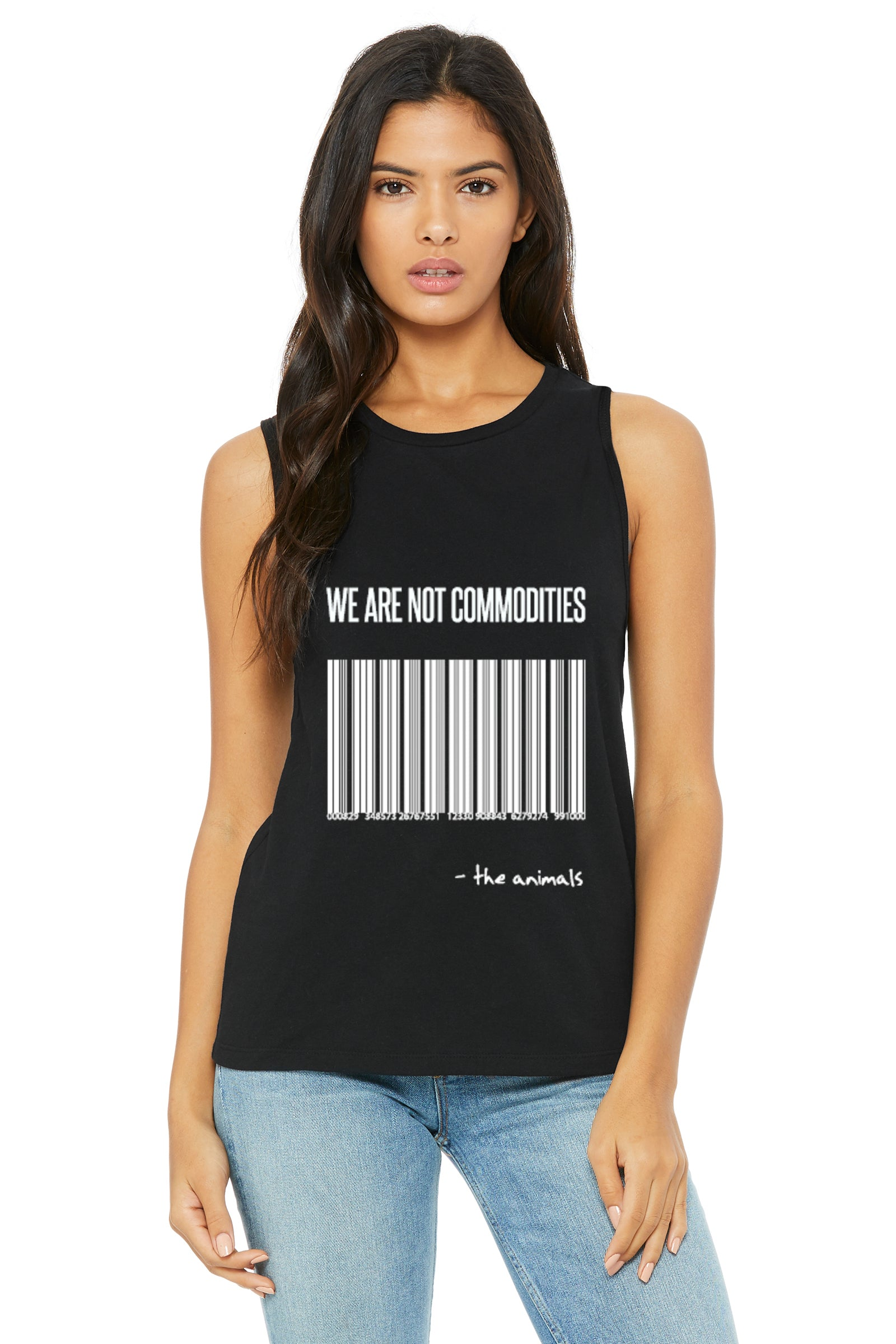 "Unisex ""We Are Not Commodities"" Muscle Tank,Humane Apparel  - Humane Apparel"