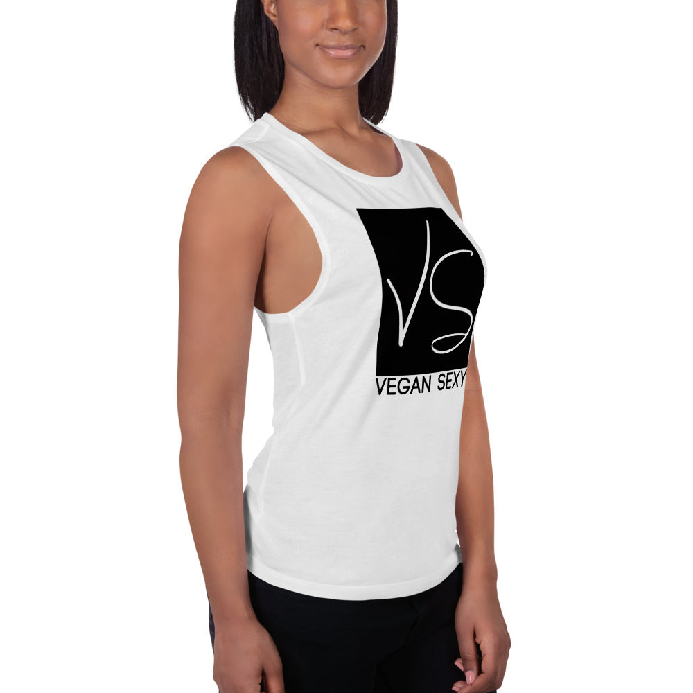 """Vegan Sexy"" Ladies' Muscle Tank,Humane Apparel  - Humane Apparel"