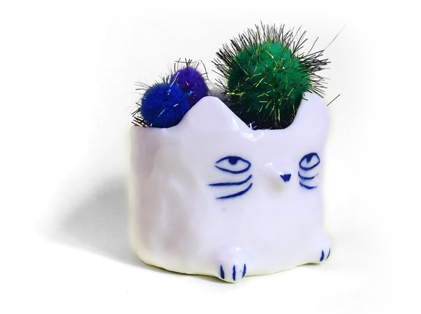 ceramic succulent cat planter