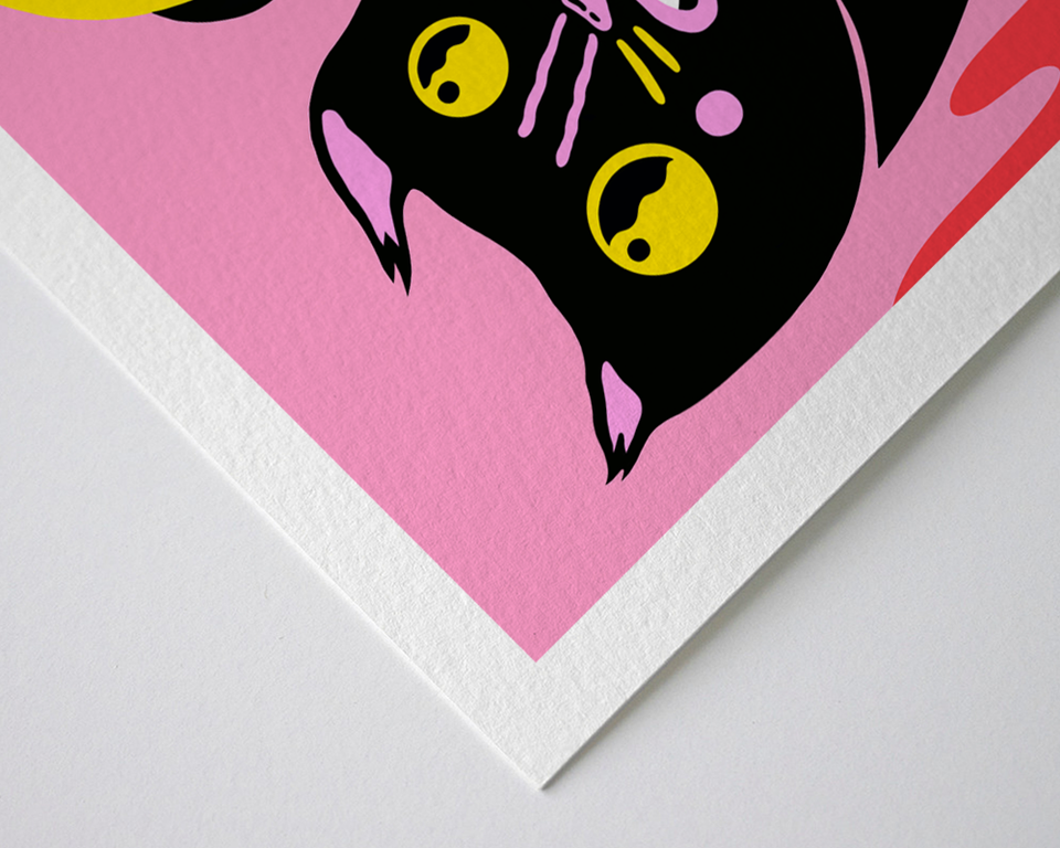 "Equinox Cat Fine Art Print closeup with 1"" border"