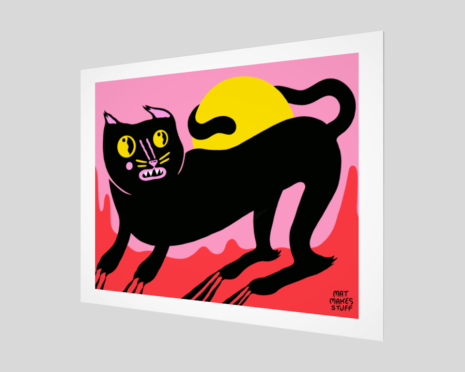 "Equinox Cat Fine Art Print with 1"" border"