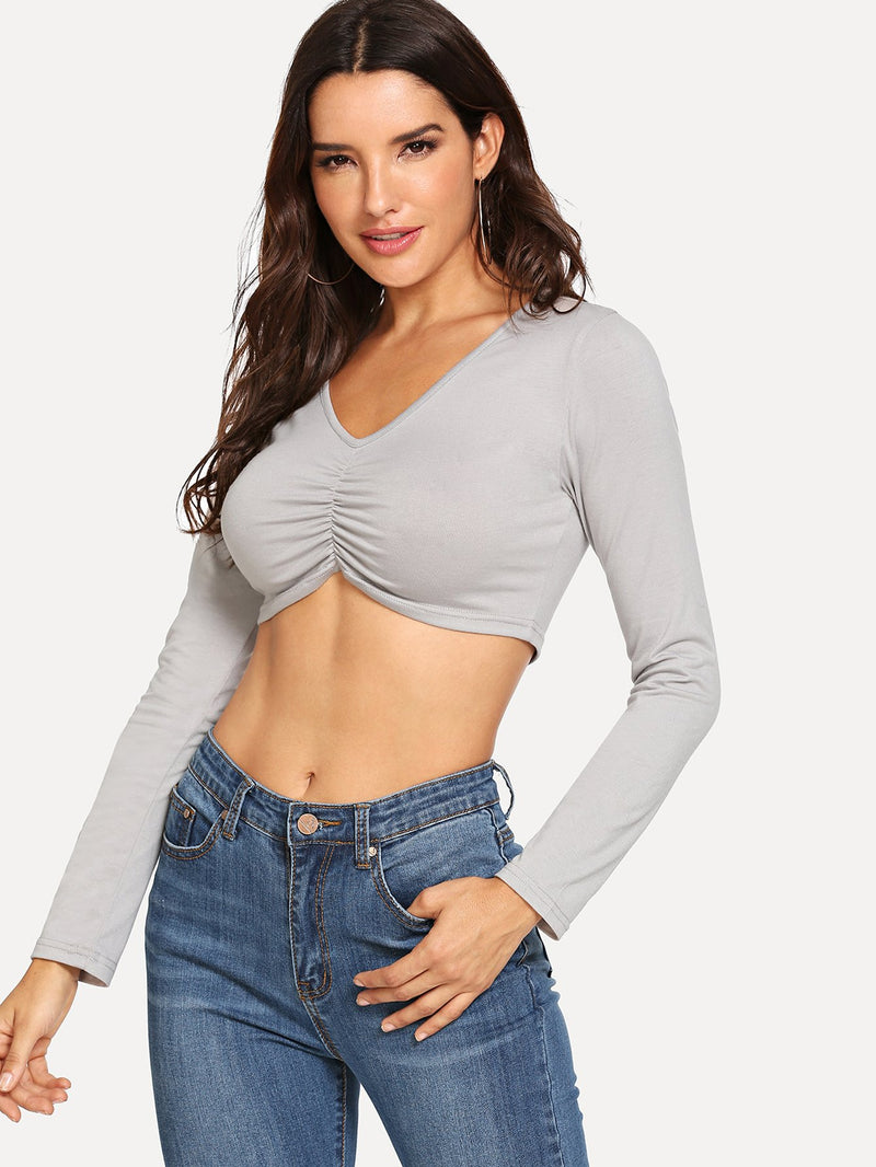 Ruched Crop Solid Tee