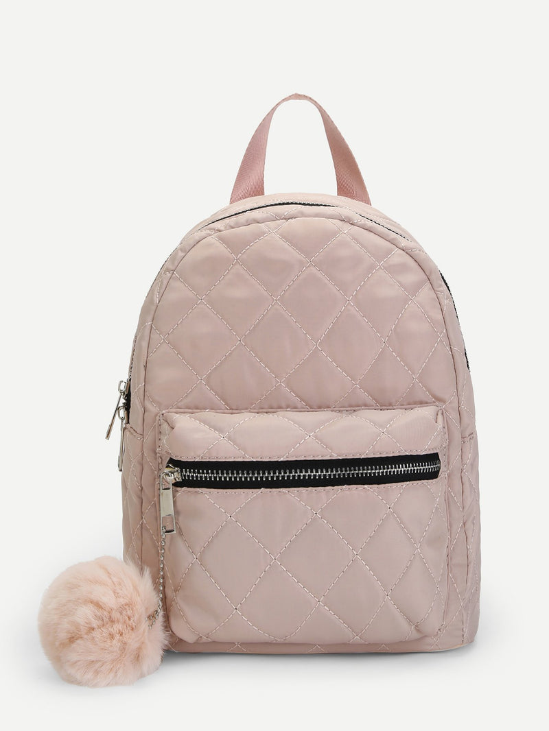 Quilted backpack with tassel