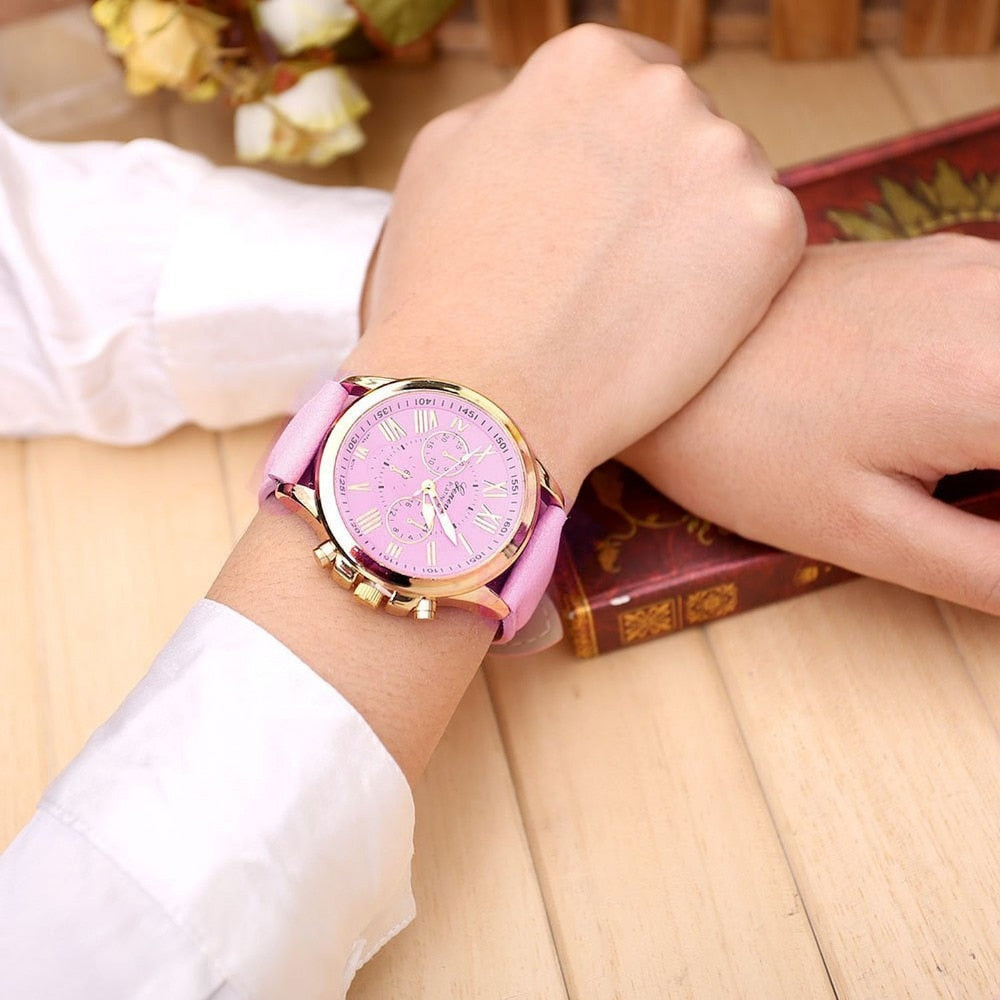 Geneva Pink Leather Watch