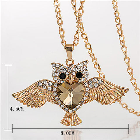 Owl Design Rhinestones Crystal Pendant Necklaces