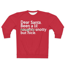 "Load image into Gallery viewer, "" Dear Santa, Been a lil'...""  (green scratch thru) Unisex Sweatshirt"