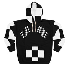 "Load image into Gallery viewer, "" To Be Continued "" Marathon Flag Unisex Hoodie (black/checkered pocket) Unisex Pullover Hoodie"