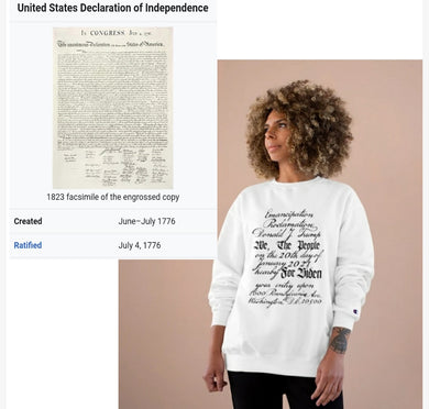 U.S. Constitution Designed Emancipation Trump - Biden TeeAllAboutIt x Champion Sweatshirt
